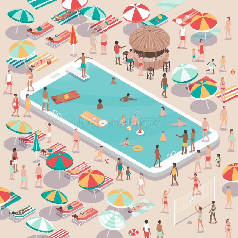 Vacations and technology. People relaxing at the beach resort and swimming in a smartphone pool, vacations and technology concept, aerial view vector illustration