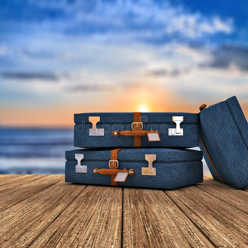 Vacations. Three travel cases over a wooden board 3d render royalty free illustration
