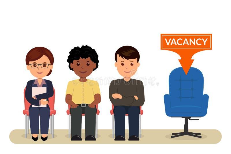 vacature Beeldverhaalmensen die op stoelen zitten die op een gesprek voor werkgelegenheid wachten rekrutering stock illustratie