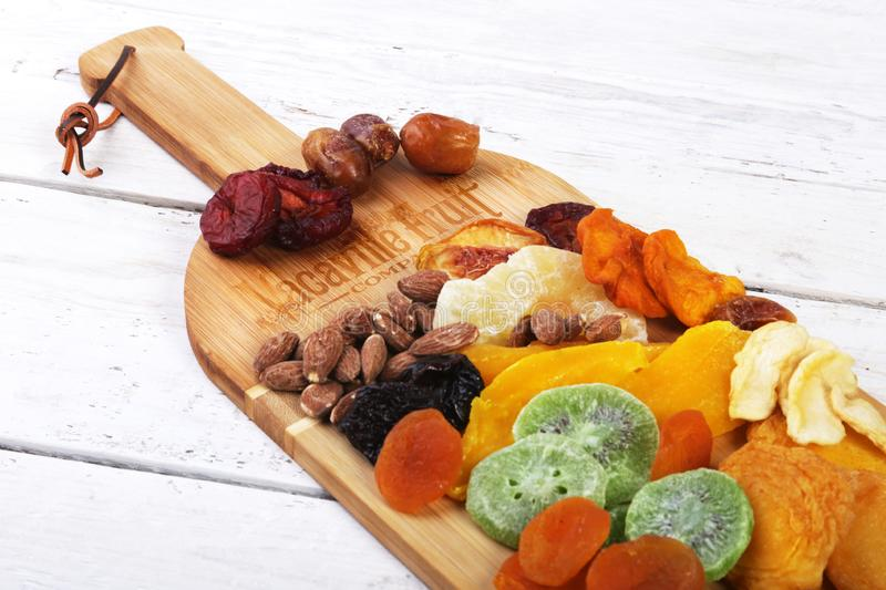 Vacaville Fruit Co. Inc, CA - April 01, 2019. Premium fruit and nuts bamboo wine board. Illustrative Editorial. Vacaville Fruit Co. Inc, CA - April 01, 2019 stock photos