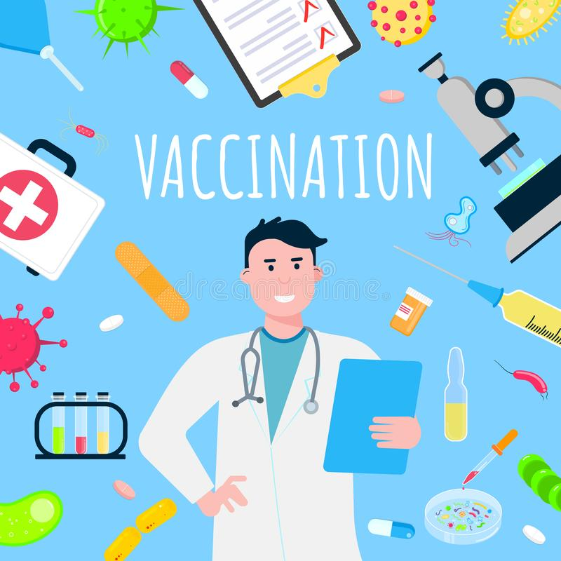 Vaccination banner concept flat style design poster. vector illustration