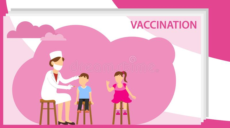 Vaccination of children. Woman doctor makes vaccination to children. Vector illustration of vaccination royalty free stock photos
