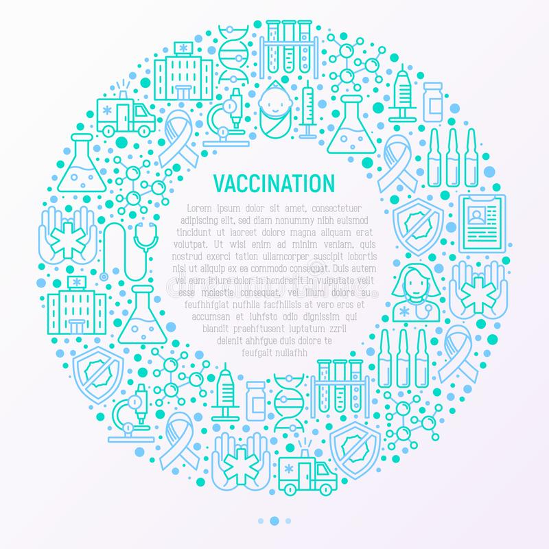 Vaccination concept in circle vector illustration