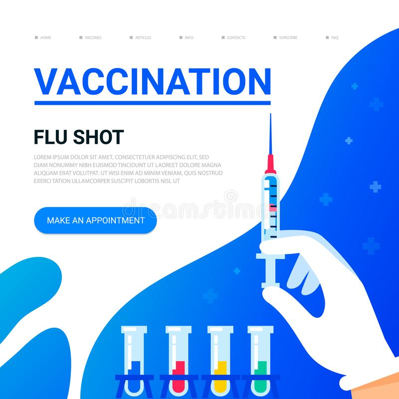 Vaccination concept. Doctors hand with a syringe and place for text. Usable for web banner, articles, infographics. Flat. Vector illustration vector illustration