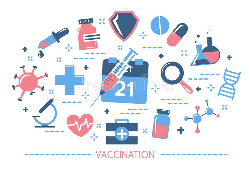 Vaccination concept. Idea of injection for disease prevention stock illustration