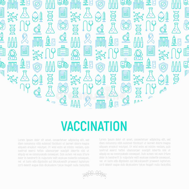 Vaccination concept with thin line icons: vaccine, syringe, ampoule, vial, microscope, virus, DNA. Vector il stock illustration