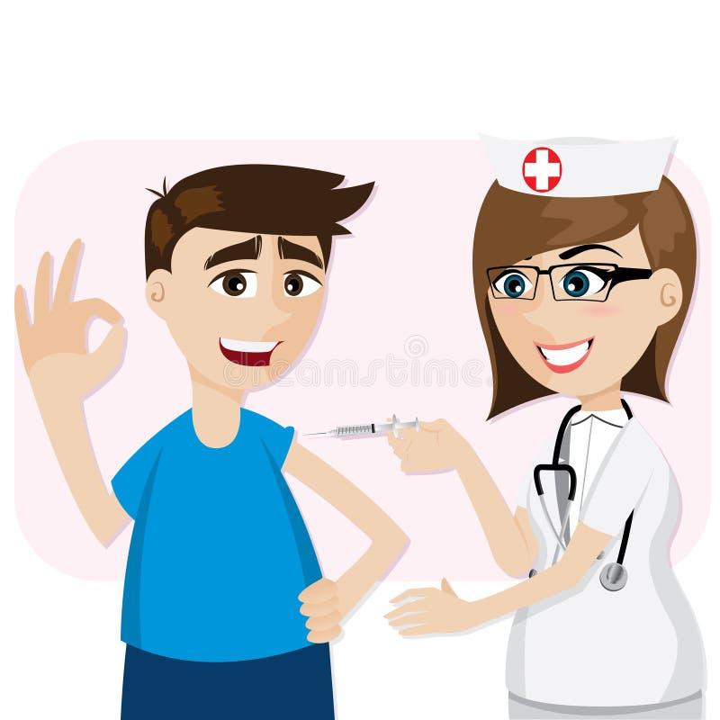 Vaccination de docteur de bande dessinée pour le patient illustration de vecteur