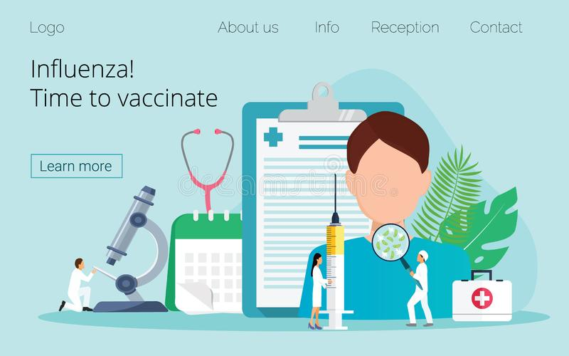 Vaccination de grippe Heure de vacciner illustration stock