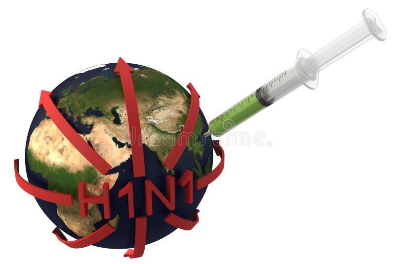 Vaccination de la grippe de porcs (H1N1) illustration stock