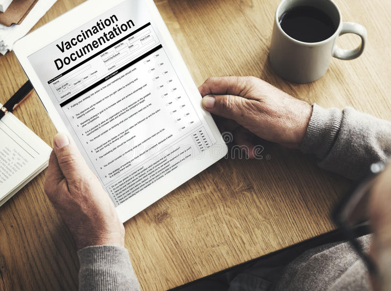 Vaccination Documentation Application Form Concept. Vaccination Documentation Application Form Document Concept royalty free stock photos