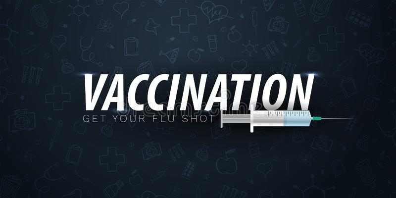 vaccination Obtenez votre vaccin contre la grippe Affiche médicale Soins de santé Illustration de médecine de vecteur illustration stock