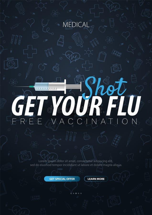 vaccination Obtenha sua vacina contra a gripe Cartaz médico Cuidados médicos Ilustração da medicina do vetor ilustração stock