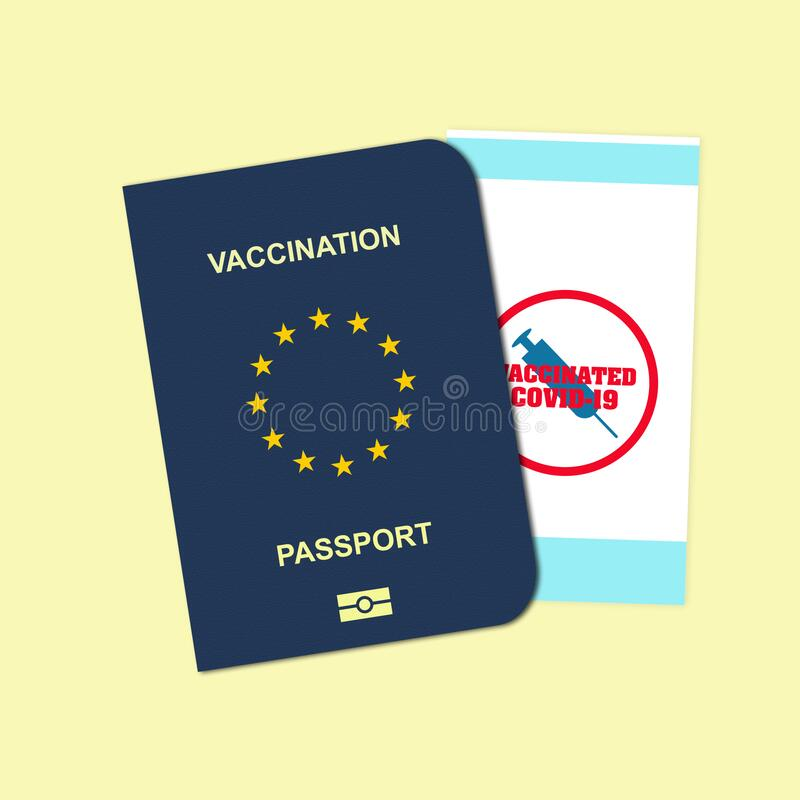 Free Vaccination Passport Stamped Vaccinated With COVID-19, On A Yellow Background. For People Vaccinated Against COVID-19 Stock Photos - 213868913