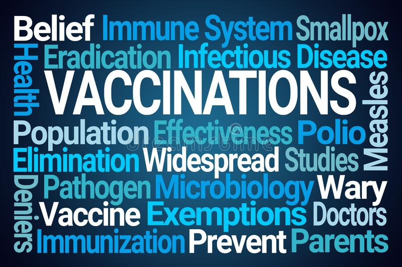 Vaccinations Word Cloud. On Blue Background vector illustration