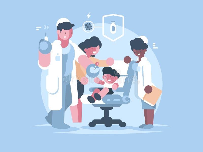 Vaccinazione medica dei bambini illustrazione vettoriale