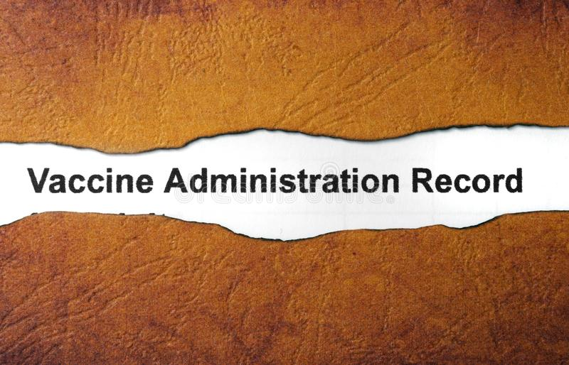 Vaccine administration record royalty free stock photography