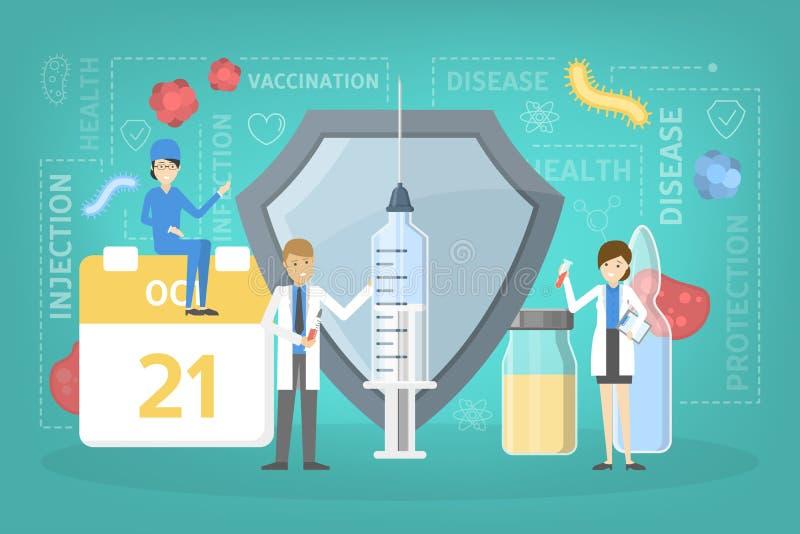 Vaccinera injektion för skydd från sjukdomen royaltyfri illustrationer