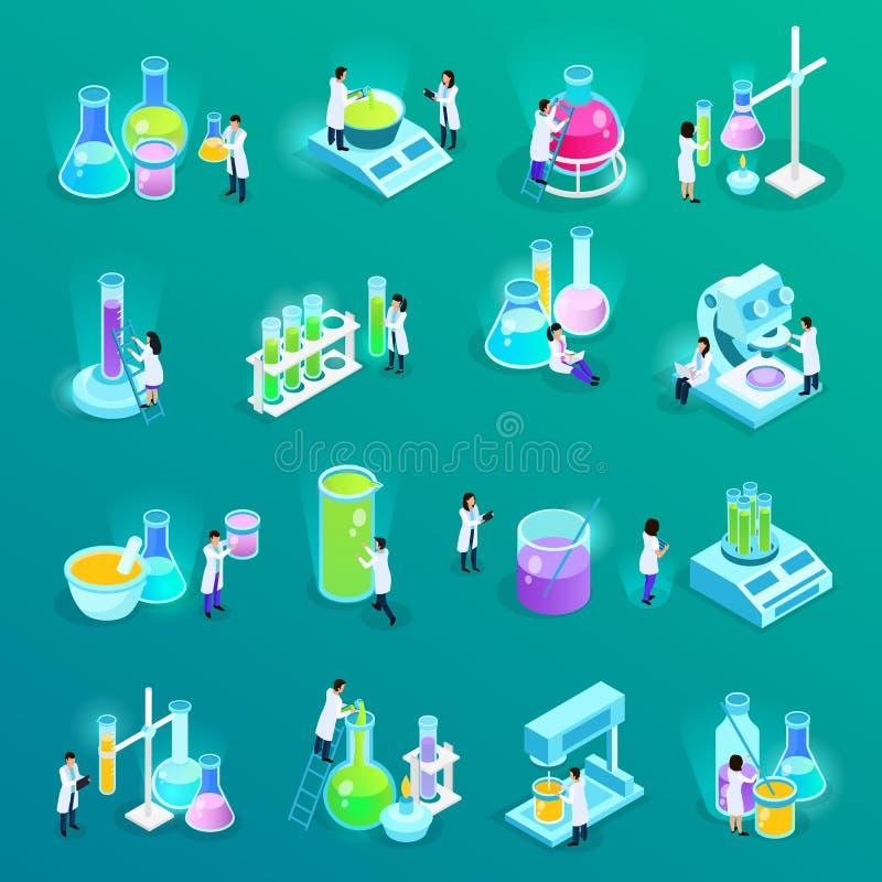 Vaccines Development Isometric Icons vector illustration