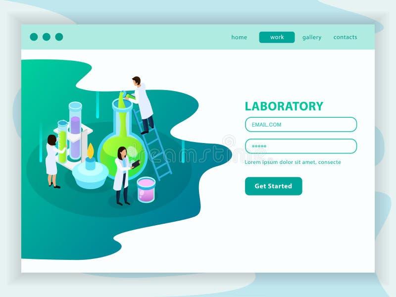 Vaccines Development Isometric Web Page royalty free illustration