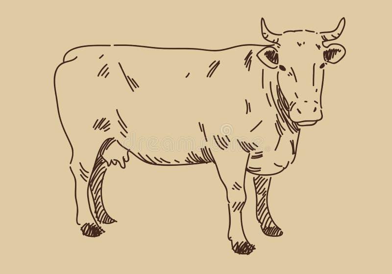 Vache à aspiration de main, vecteur illustration de vecteur
