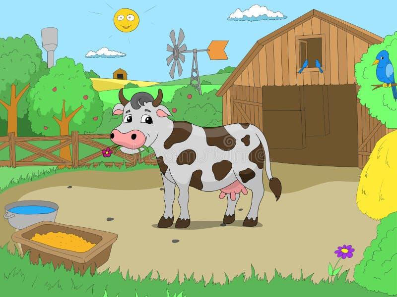 Vache à bande dessinée dans le vecteur d'enfants de livre de couleur de ferme illustration stock