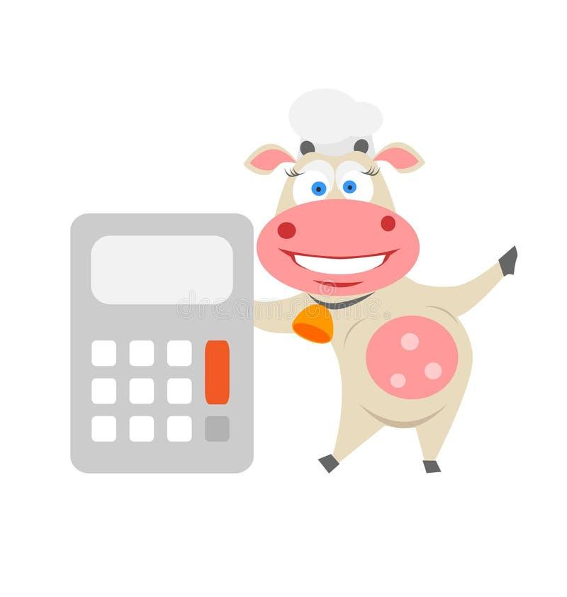 Vache à Calculatrice Photo stock