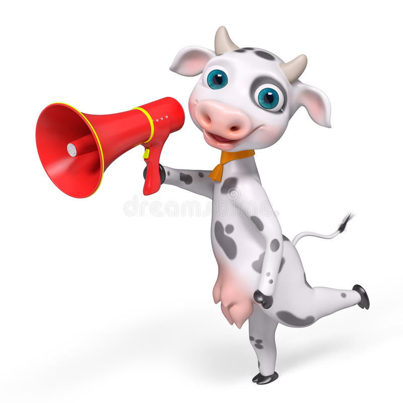 Vache à personnage de dessin animé tenant le mégaphone, rendu 3d illustration de vecteur