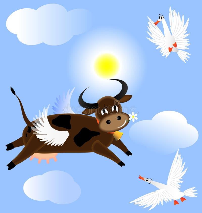 Vache à vol illustration stock