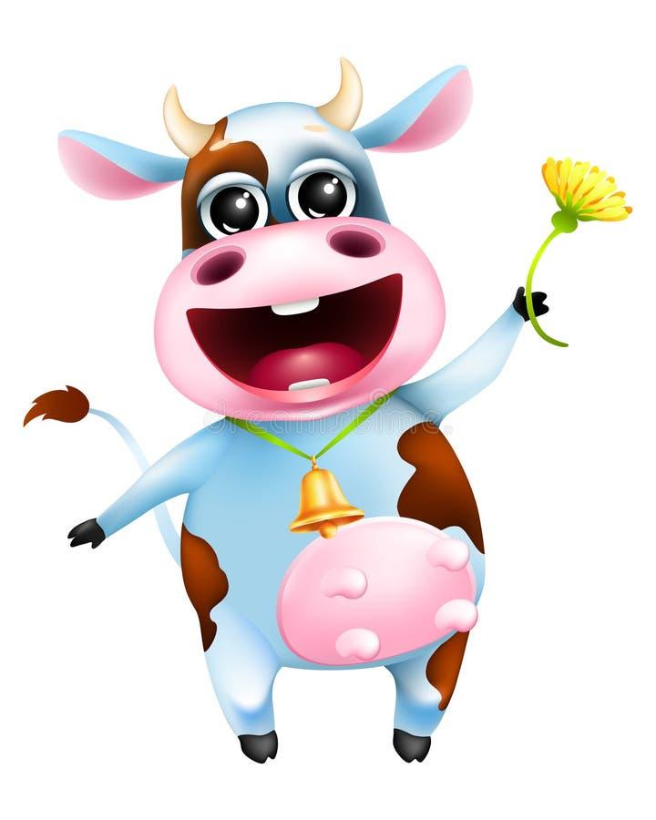 Vache émotive à bande dessinée mignonne avec la cloche d'or et la fleur jaune illustration de vecteur
