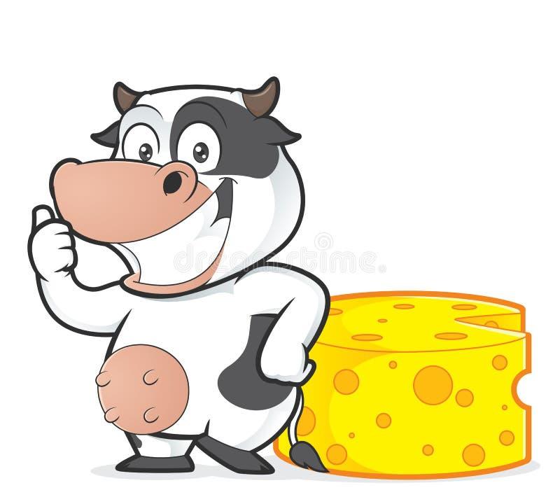Vache avec du fromage illustration libre de droits