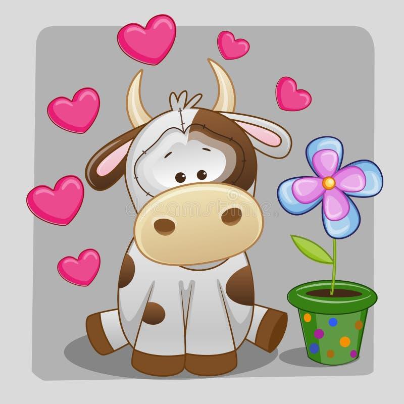 Vache avec le coeur et la fleur illustration stock
