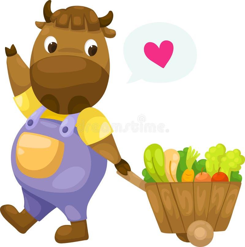 Vache avec le vecteur en bois de chariot illustration stock