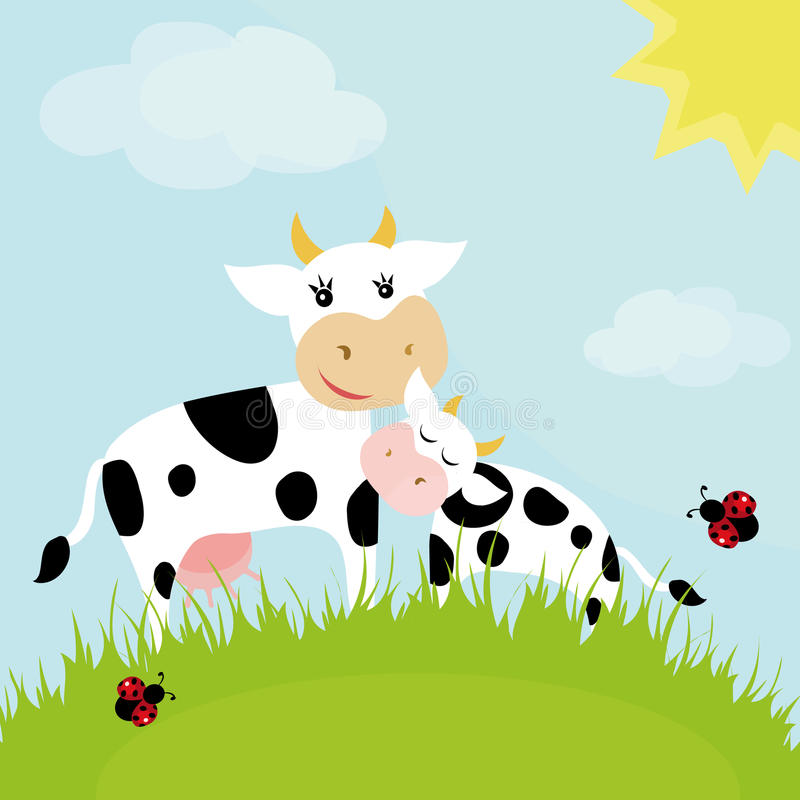 Vache avec un veau illustration de vecteur