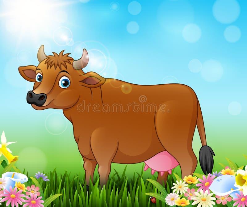 Vache brune à bande dessinée avec le fond de nature illustration libre de droits