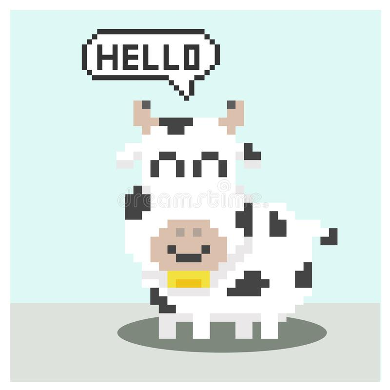 Vache dans l'art de pixel illustration de vecteur