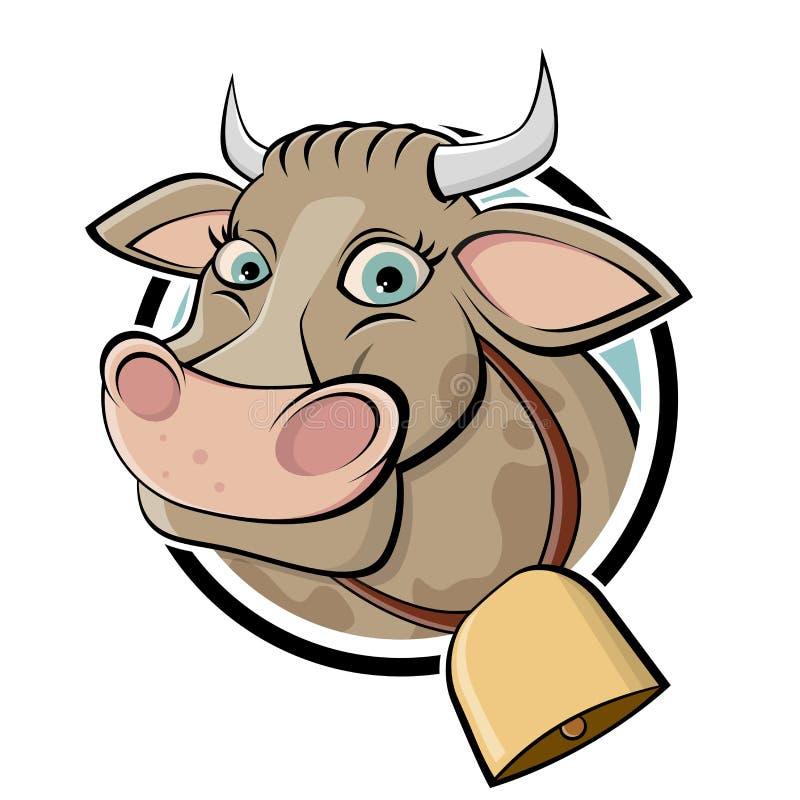 Vache drôle à bande dessinée illustration de vecteur