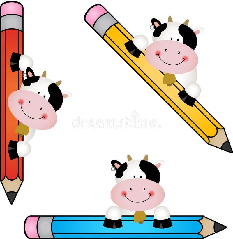 Vache drôle avec le crayon illustration stock