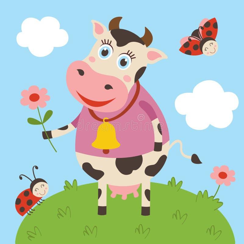 Vache et coccinelle mignonnes sur le pré illustration stock