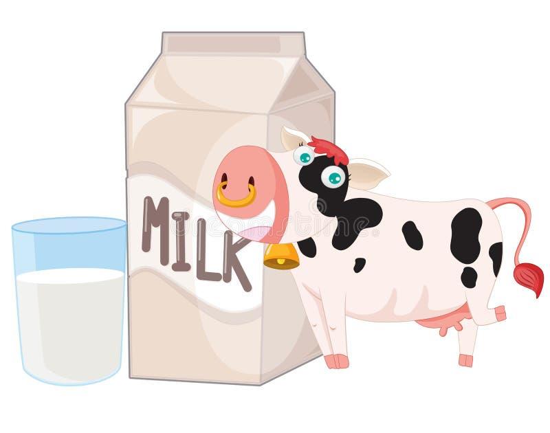 Vache et lait illustration de vecteur