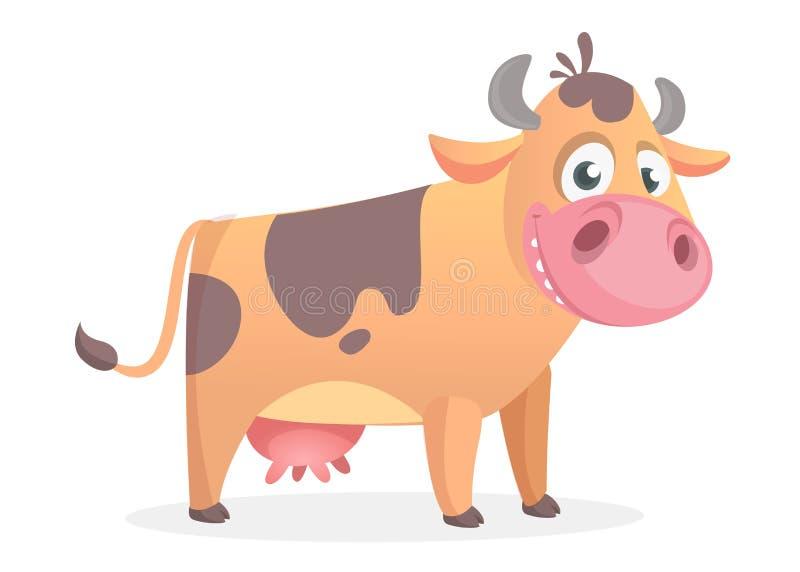 Vache heureuse à bande dessinée Vecteur d'isolement sur le blanc illustration stock