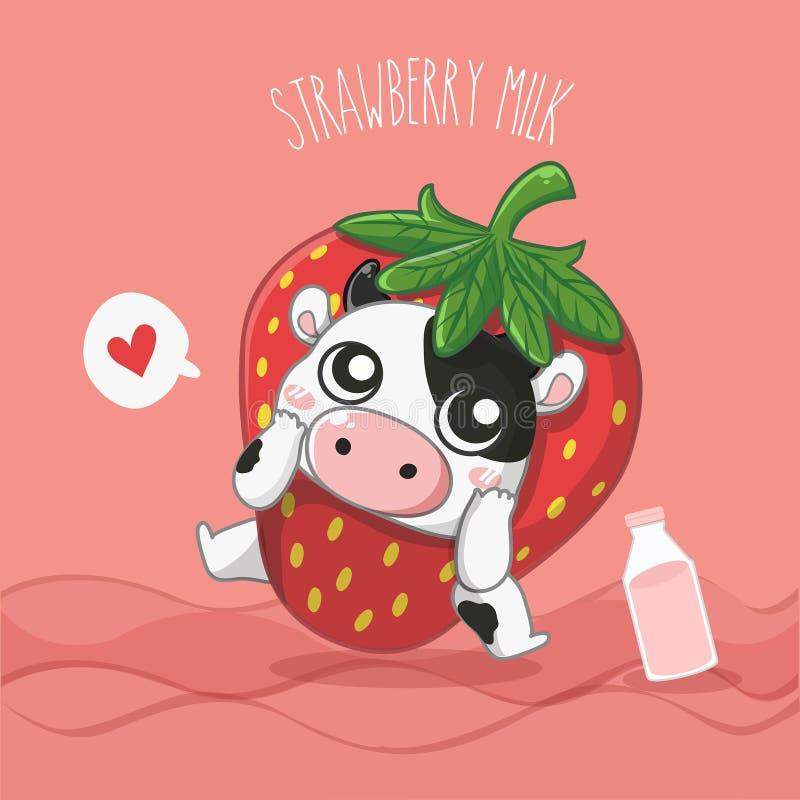 Vache laitière de lait de fraise très mignonne illustration de vecteur