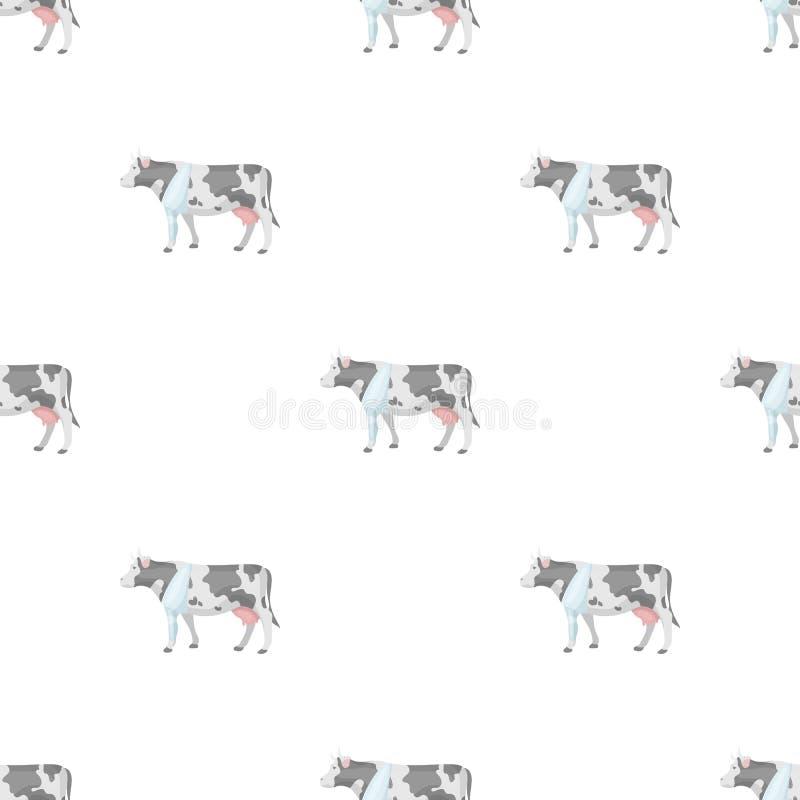 Vache malade avec le bandage sur une icône de jambe dans le style de bande dessinée d'isolement sur le fond blanc Vecteur vétérin illustration de vecteur