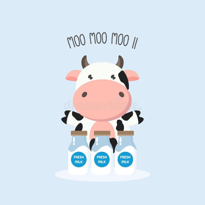 Vache mignonne avec des bouteilles à lait Illustration de vecteur illustration libre de droits