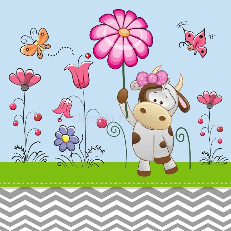 Vache mignonne avec une fleur illustration stock