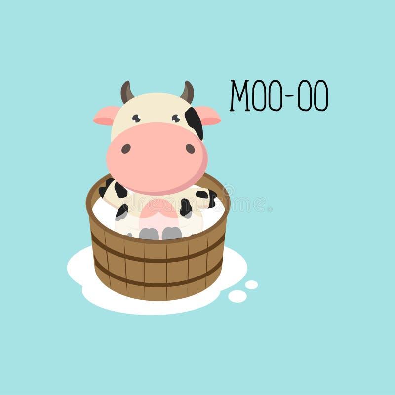 Vache mignonne ? b?b? dans le bois-baquet illustration stock
