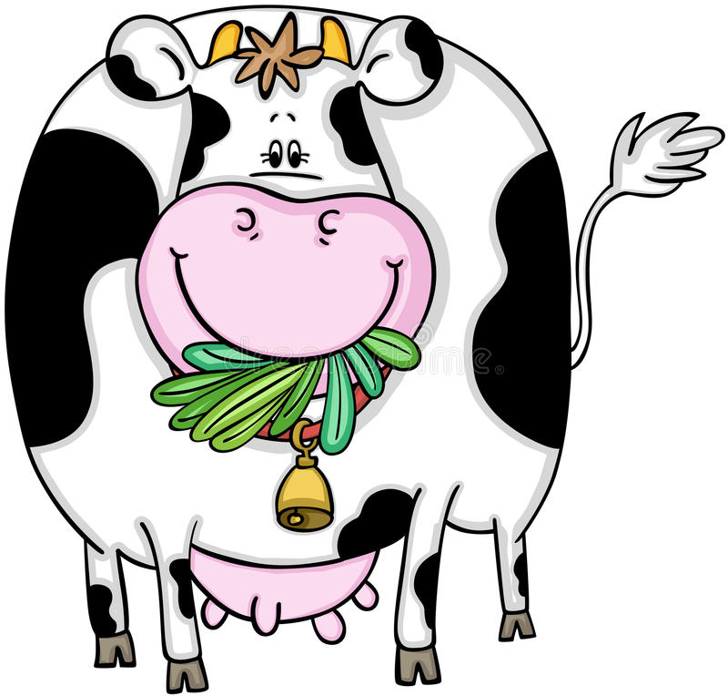 Vache mignonne mangeant l'herbe illustration stock