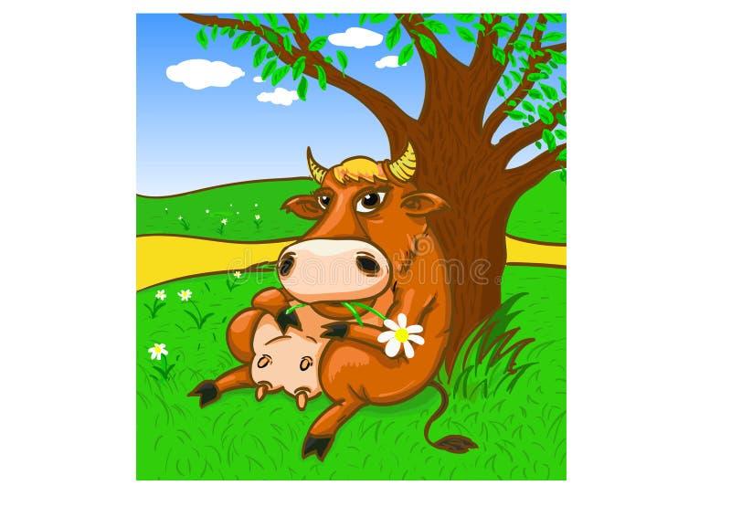 Vache par l'arbre illustration libre de droits
