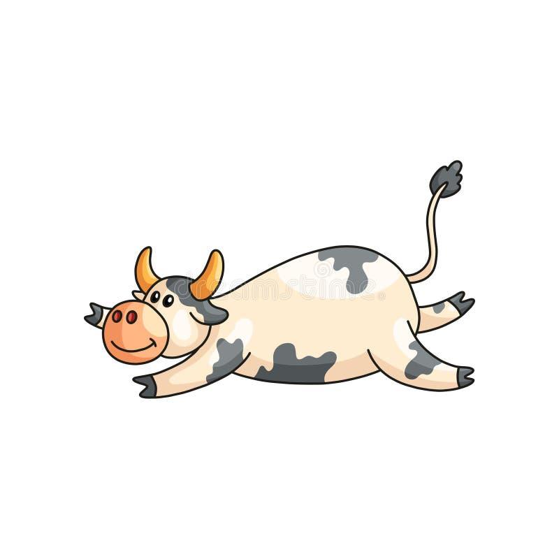 Vache repérée paresseuse satisfaisante drôle se trouvant sur l'estomac d'isolement sur le blanc illustration de vecteur