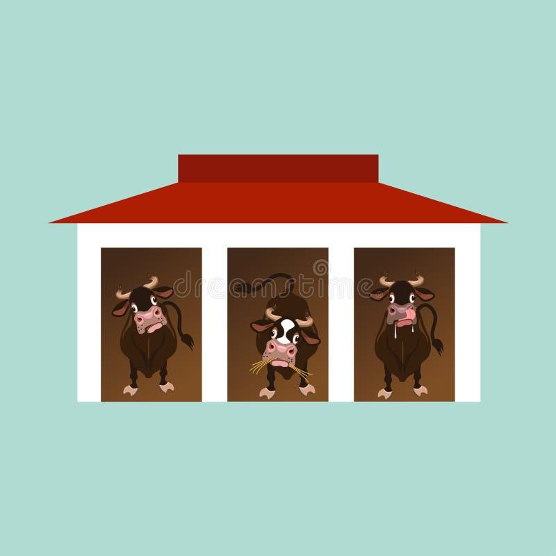 Vaches à l'intérieur de la grange illustration stock