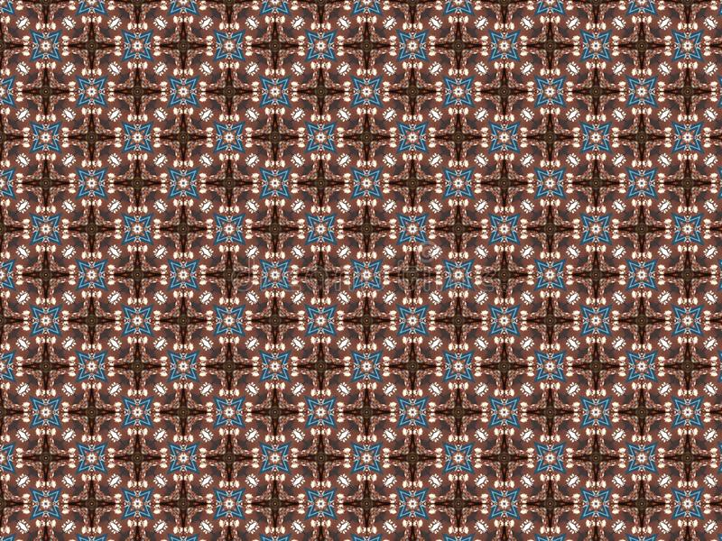 Vachtdeken met gevlecht patroon in de vorm van een blauwe en bruine vlecht en gevlechte ster vector illustratie